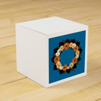 "Wreath ""Orange Blossom"" Orange Flowers Favor Box Wedding Favour Boxes"