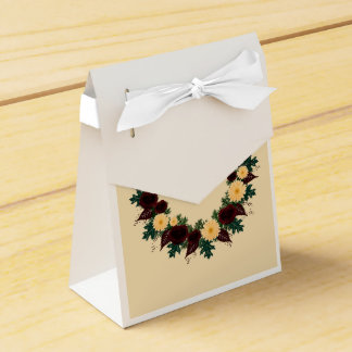 "Wreath ""Peach Daisy"" Peach Flowers Favor Box Party Favour Boxes"
