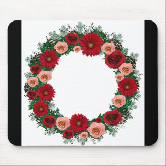 """Wreath """"Pine Cone"""" Red/Pink Flowers Mouse Pad"""