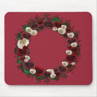 """Wreath """"Pine Roses"""" Burgundy Flowers Mouse Pad"""