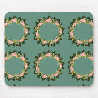 """Wreath """"Pink Love"""" Flowers Floral Mousepad"""