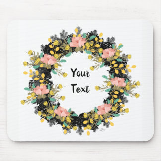 "Wreath ""Pink Yellow"" Flowers Floral Mousepad"