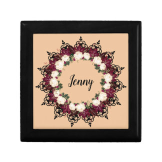 """Wreath """"Red Leaf"""" Flowers Floral Jewelry/GIft Box"""
