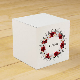 "Wreath ""Red Wedding"" Red Flowers Favor Box Wedding Favour Box"