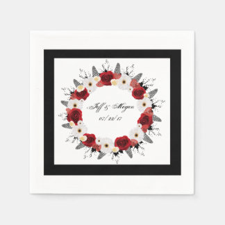 """Wreath """"Red Wedding"""" Red Flowers Napkins Disposable Napkins"""