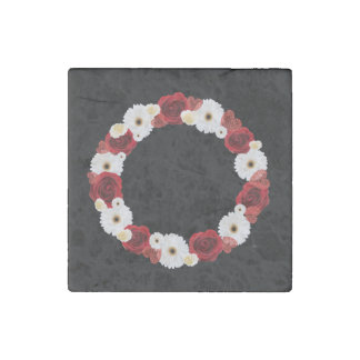 "Wreath ""Red Wedding"" Red/White Flowers Magnet Stone Magnet"