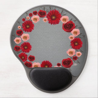 """Wreath """"Simple Circle"""" Red/Pink Flowers Mouse Pad"""