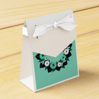 "Wreath ""Teal Dragonfly"" Teal Flowers Favor Box Wedding Favour Boxes"