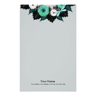 """Wreath """"Teal Dragonfly"""" Teal Flowers Stationery"""