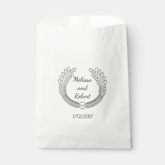 Wreath Wedding Favor Personalized Name & Date Bag Favour Bags