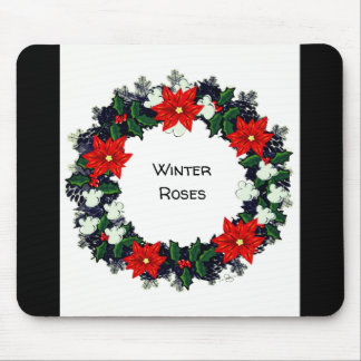 """Wreath """"Winter Roses"""" Flowers Floral Mousepad"""