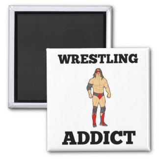 Wrestling Addict Square Magnet