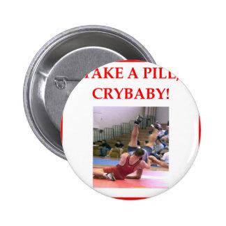 wrestling 6 cm round badge