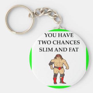 wrestling basic round button key ring
