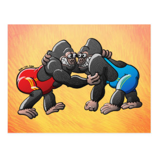 Wrestling Gorillas Postcard