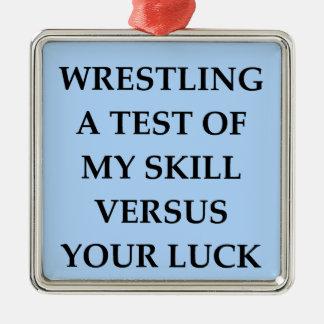 wrestling Silver-Colored square decoration