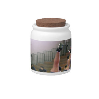 wrestling ceramic lolly jar