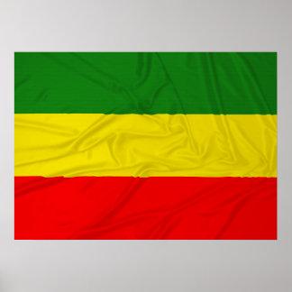 Wrinkled Rastafarian Flag Poster
