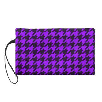 Wristlet, HOUNDSTOOTH VINTAGE FABRIC Black/Purple