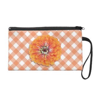 Wristlet - Mini-Purse - Orange Zinnia & Lattice