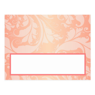 Writable Place Card Brown Rose on Pink Floral Flow Postcard