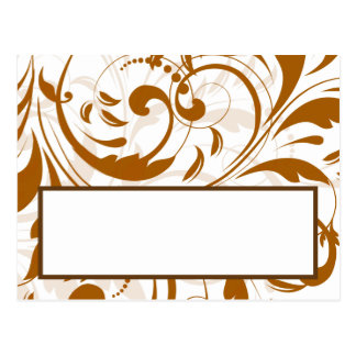 Writable Place Card Damask Autumn Postcard