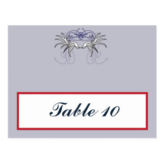 Writable Place Card White Doves Red Blue BG Gray R Postcard