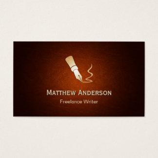 Writer Pen Logo - Stylish Spotlight Brown Leather Business Card