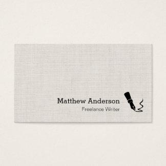 Writer Pen Symbol - Simple Elegant Linen Look Business Card