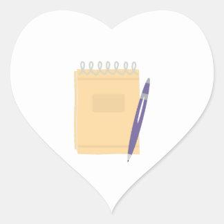 Writers Note Pad Heart Sticker