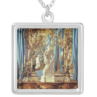Writing table and statue of Louis XV Silver Plated Necklace