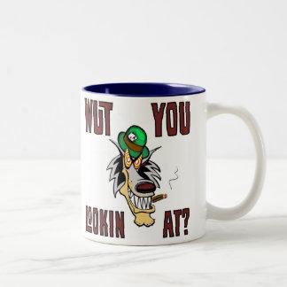 WUT YOU LOOKIN AT?  Vingonline Mascot hotrods neon Two-Tone Coffee Mug