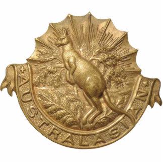 WWII Australian Skippy Hat Badge Pin Photo Sculpture Badge