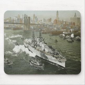 WWII Battleship on the Hudson River Vintage Mouse Pad