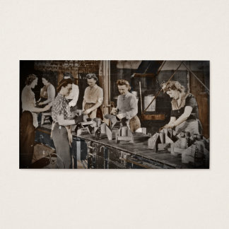WWII Women in Assembly Line Business Card