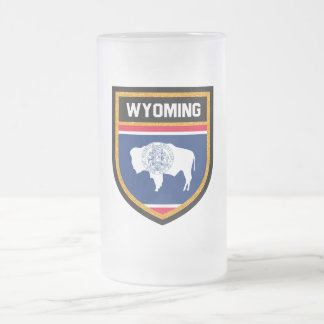 Wyoming Flag Frosted Glass Beer Mug