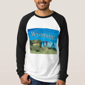 Wyoming Men's Canvas Long Sleeve Raglan T-Shirt