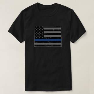 Wyoming Police & Law Enforcement Thin Blue Line T-Shirt