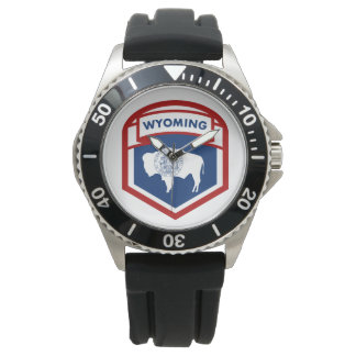 Wyoming State Flag Crest Shield Style Watch