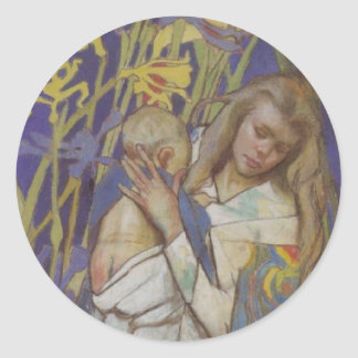 Wyspianski, Caritas (Madonna and Child), 1904 (1) Classic Round Sticker
