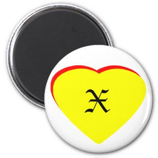 """X"" Heart Yellow Red Wedding Invitation The MUSEUM Magnet"