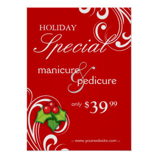 XMAS Holiday Sale Salon Poster Spa Red White Swirl