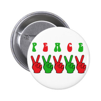 Xmas Peace Hands Pinback Buttons