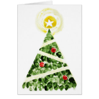 Xmas tree painted with fingers greeting card