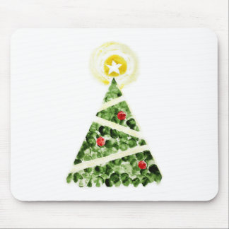 Xmas tree painted with fingers mouse pad