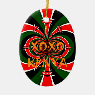 XOXO I Love Kenya Black Red Green National Flag Co Christmas Ornament