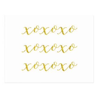XOXO Quote Faux Glitter Bling Metallic Sequins Postcard