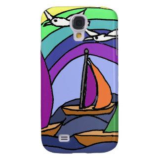 XW- Salboats and Rainb Folk Art Design Galaxy S4 Case