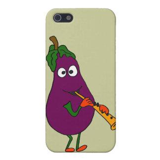 XX- Eggplant Playing Clarinet Cartoon iPhone 5 Cover