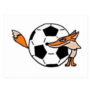 XX- Fox Behind a Soccer ball Art Postcard